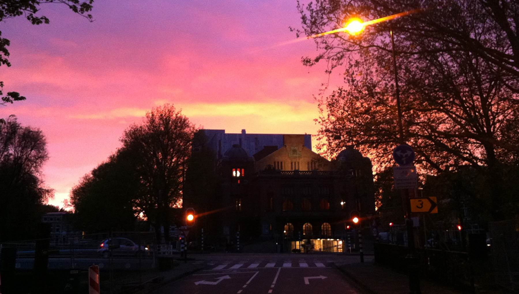 Haarlem schouwburg sunset CC BY 2.0 Daviddje via Flickr