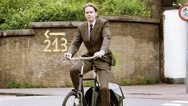 Amsterdam businessman on bike