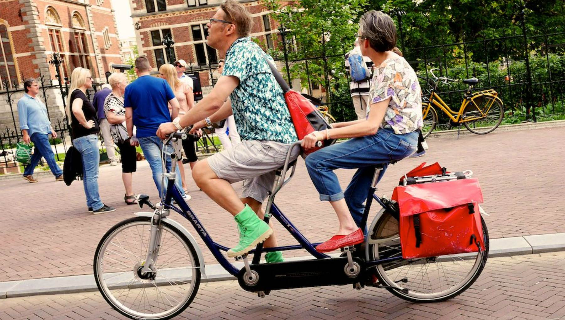 Couple on tandem bike Amsterdam