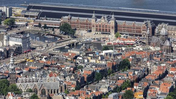 Aerial photo Centraal Station and centre Amsterdam Peter Elenbaas