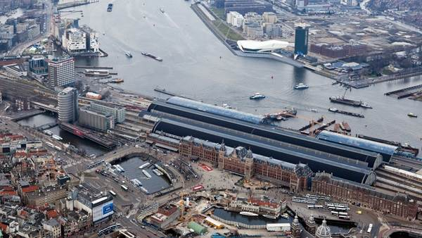 Amsterdam Central Station aerial view