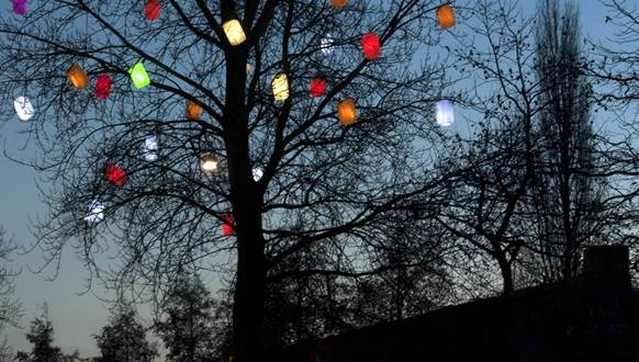 Christmas lanterns in tree Amsterdam CC BY 2.0 Kitty Terwolbeck via Flickr