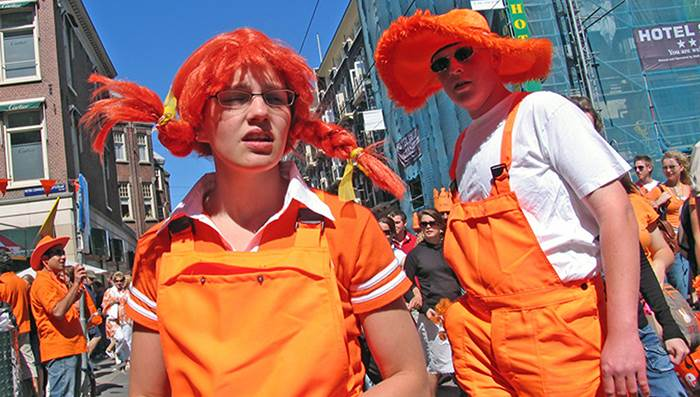 King's Day in Amsterdam: orange clothing