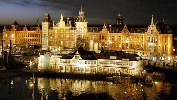 Amsterdam Central Station at night